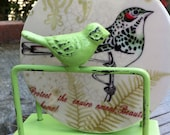 Lime Green Bird Business Card Holder - Vintage Inspired - Office Desk-  In Nature Apple Green - Metal Home Decor-Summer Trends-Rustic Chic