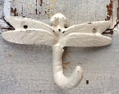 Dragonfly Wall Hook-Cast Iron in Shabby Chic Cream Distressed-Metal Wall Decor-  Retro Vintage - Baby Nursery-Winter-Spring Home Decor