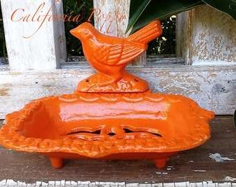 Cast Iron Bird Soap Dish-Rustic Old Fashioned- Distressed-Fixture- California Orange Poppy- Business Card Holder-Bright-Retro Bathroom-Bold