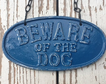 Puppy Sign - Shabby Cast Iron Dog Sign,Vintage Inspired Sign, Word Plaque, Vintage Nautical Blue,Distressed and Chippy