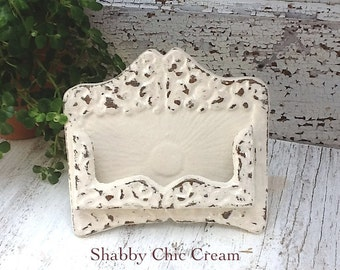 Business Card Holder -Wedding -Place Card Holder- Rustic Cast Iron -Old Fashioned -Old World Inspired-Shabby Chic Cream- Metal Decor -Winter