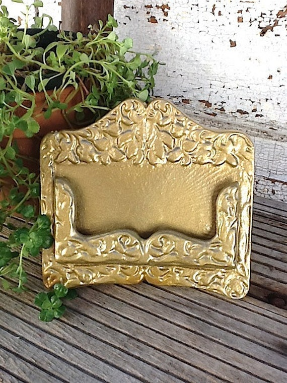 Business Card Holder- In Hollywood Gold- Golden Era-Metallic Gold-Office Decor-Cast Iron-Modern Decor-Business Cards-New Job