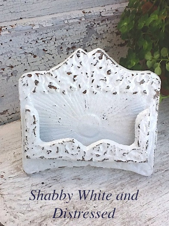Rustic Chic Business Card Holder -Autumn Fall Home -White Wedding - Old Fashioned-Boho-Cottage Inspired - Distressed Shabby White - Winter