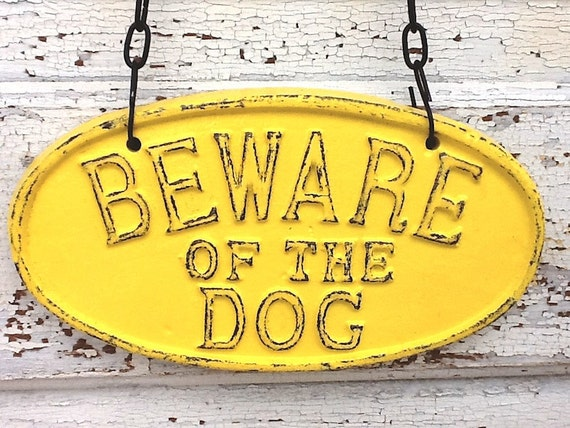 Bright Yellow / Beware Of The Dog Sign / Bright Cast Iron / In California Gold - Metal Wall Decor-Front Door-Sunny Yellow-Puppy, Quirky
