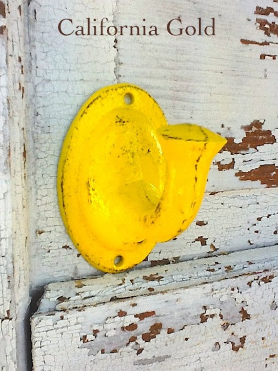Bright Yellow Wall Hook -Rustic Cast Iron - Jewelry Holder -Vintage Inspired - In California Gold Yellow - Metal Wall Decor-Retro Kitchen
