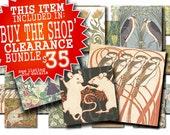 Art Nouveau Decorative 1 Inch Square Tile Embellishments - Graphic Digital Collage Sheet - Download and Print (42 piece set)