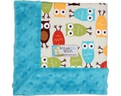 Baby Boy Lovey Security Blanket - Modern Owls on Blue Minky....Unique Baby Gift