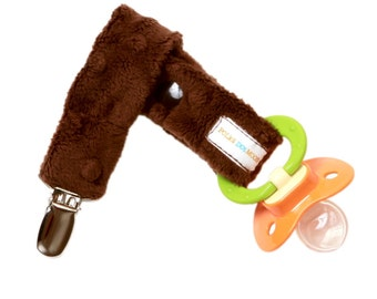 Baby Boy or Girl Brown Pacifier Clip in Chocolate Brown Dimple Minky