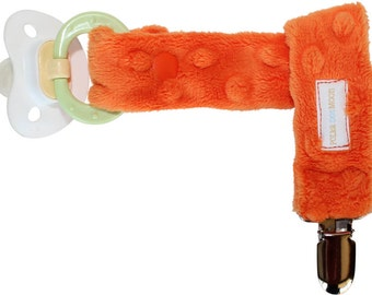 Boy or Girl Pacifier Clip in Orange Dimple Minky - Unique New Baby Gift