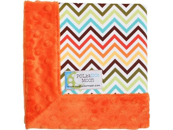 Lovey, Baby Lovey Blanket, Minky Lovey, Security Blanket, Minky Baby Blanket, orange baby blanket, chevron baby blanket, chevron blanket