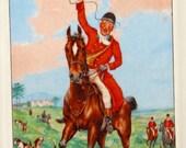 Vintage Horse, Hound, and Fox Hunt Porcelain Plaque