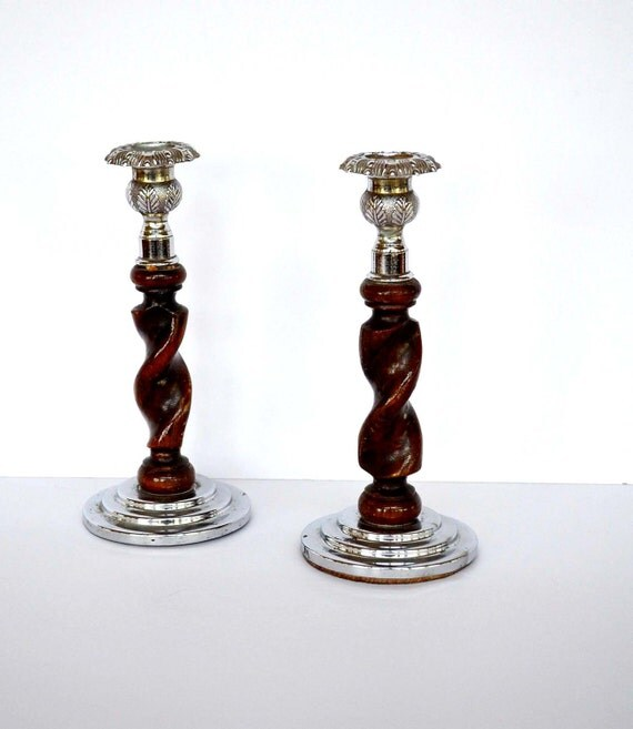 Antique English Barley Twist Candle Holders