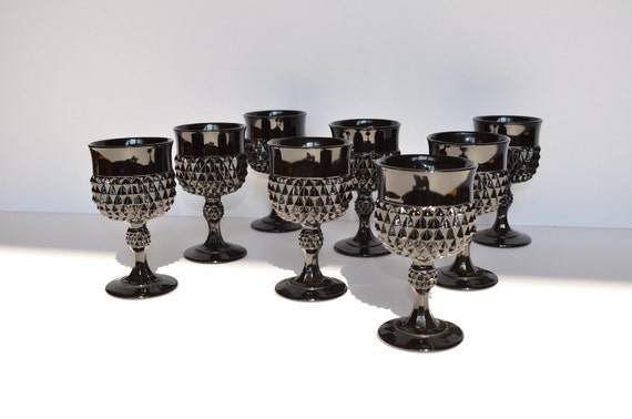 Black Indiana Glass Goblets Diamond Point (Set of 8)
