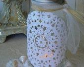 White Lace Doilie and Crystal Mason Jar (lrg)