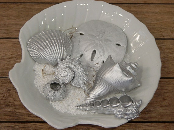 Sea Shell Assortment (Silver) - Beach Decor, Wedding Decor, Christmas and Holiday Decor