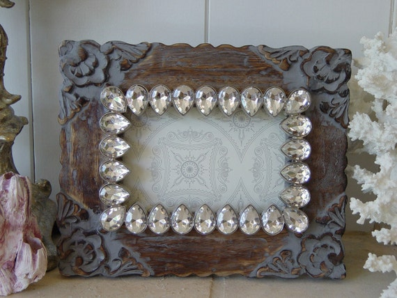 Floral Etched Wood Picture Frame with Smoky Crystal Inset - 4 x 6