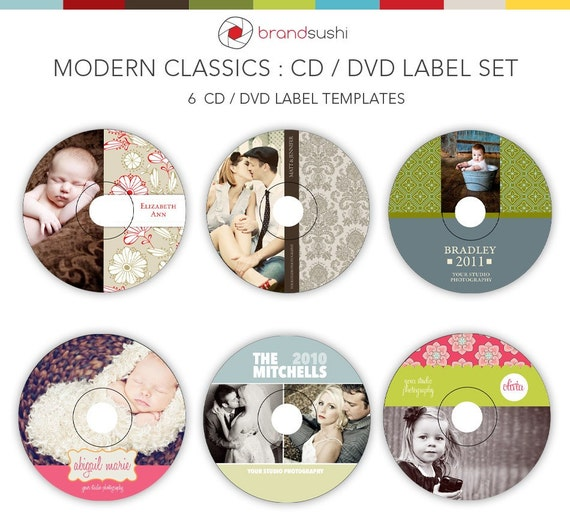 modern classics cd    dvd label templates 6 psd by brandsushi
