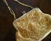 Vintage Handbag- Gold Purse - Beaded Evening Handbag - La Regale Evening Bag- Wedding Party- Prom- Homecoming