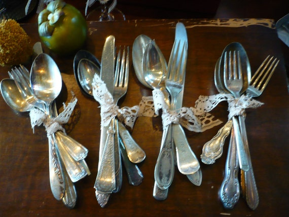 Silverplate Table Settings, Place Setting, Silverplate Bundles, Weddings, Found Silverplate, Shabby Chic Flatware, Mixed Silverplate Sets