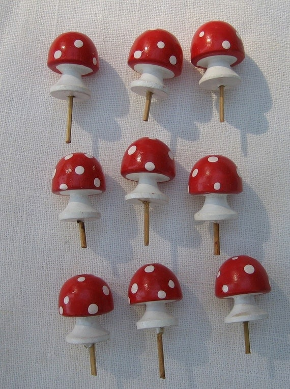 Wooden Red And White Mushroom Birthday Candle Holders