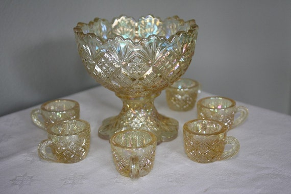 Westmoreland Glass Childs Miniature Punch Set in Yellow