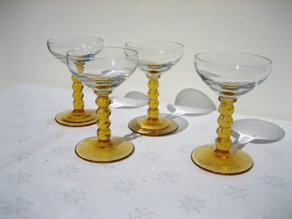 Candlewick Clear and Amber Stemmed Glasses