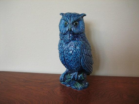 Large Blue Ceramic Owl Figurine