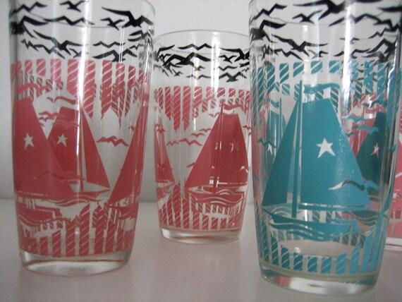 Nautical Themed Drinking Glasses Sailboats PINK