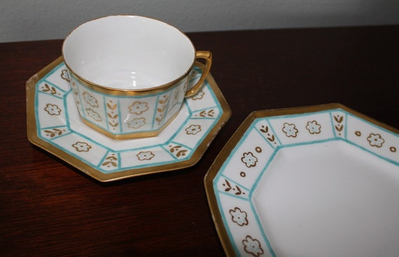 Antique Limoges Teal and Gold Three Piece Cup and Saucer with Plate