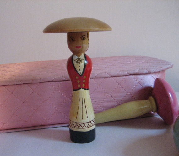 Woman Shaped Darning Egg Painted Made in Norway