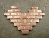 Brick Wall Necklace in Copper and Sterling Silver- Urban Jewelry- Industrial Jewelry- Pink Heart Jewelry- Valentine Gift- Valentines Jewelry