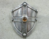 Cross Shield Ponytail Holder / Scarf Holder in Fine Silver - Hair Accessories For Her - Hair Jewelry - Rivets - Medieval - Renaissance