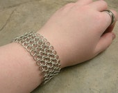 Chainmaille Bracelet in Sterling Silver - Medieval Renaissance - Gothic - Industrial - Steampunk - European 4 in 1
