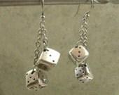 Dice Earrings in Sterling & Fine Silver - Casino Gambler - Craps Player - Bonko - Rockabilly - High Roller - Pierced