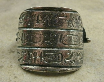 Hieroglyphic Ponytail Holder / Scarf Holder in Sterling Silver - Hair Accessories For Her - Hair Jewelry - Artifact Relic - Egypt Egyptian