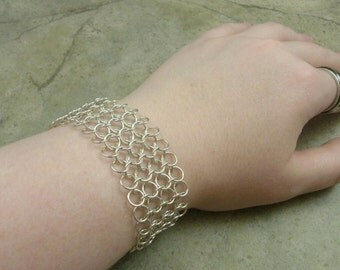 European 4 in 1 Chainmaille Bracelet in Sterling Silver - Medieval Renaissance - Middles Ages - Gothic - Industrial