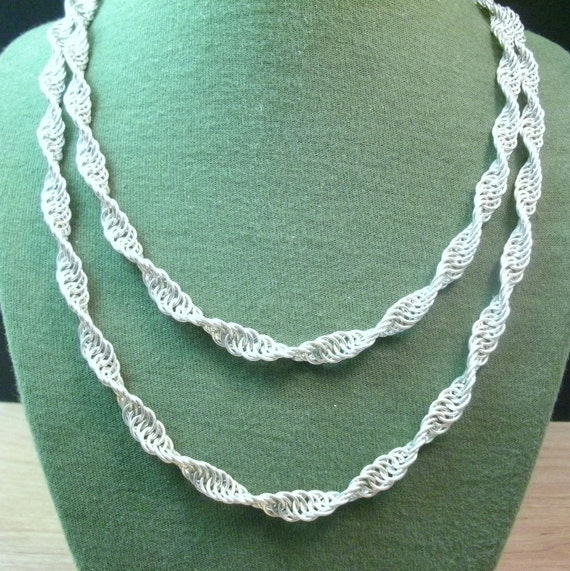 Spiral Sterling Silver Chainmaille Necklace - DNA Strand - Gothic Medieval - Renaissance - Long 36in/ 91.4cm