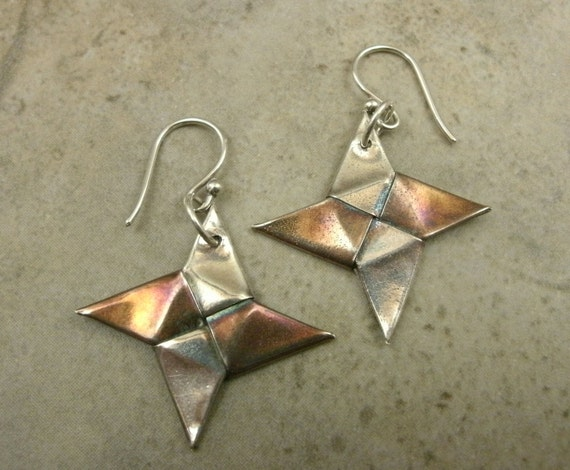 Origami Throwing Star Earrings in Fine Silver - Martial Arts Jewelry - Karate - Ninja Star - Anime Manga - Fantasy- Eco-Friendly Silver