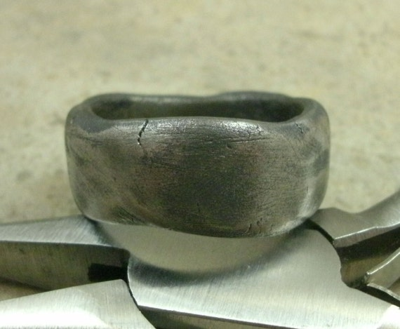 Steel Stone Band Ring Rock Ring Solid Steel Jewelry by PartsbyNC