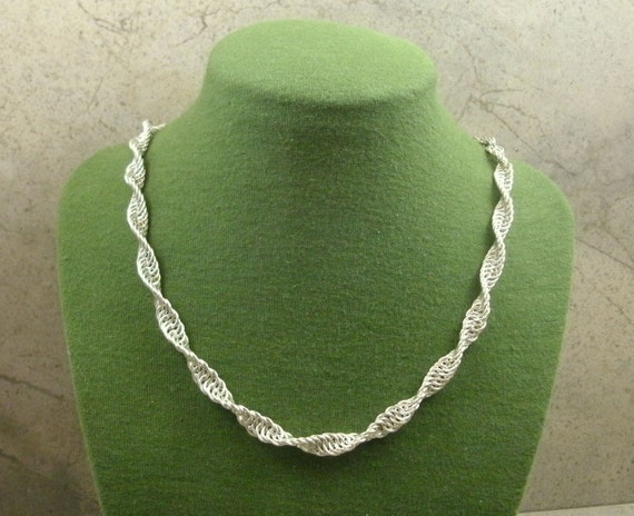 Spiral chainmaille sterling silver DNA necklace