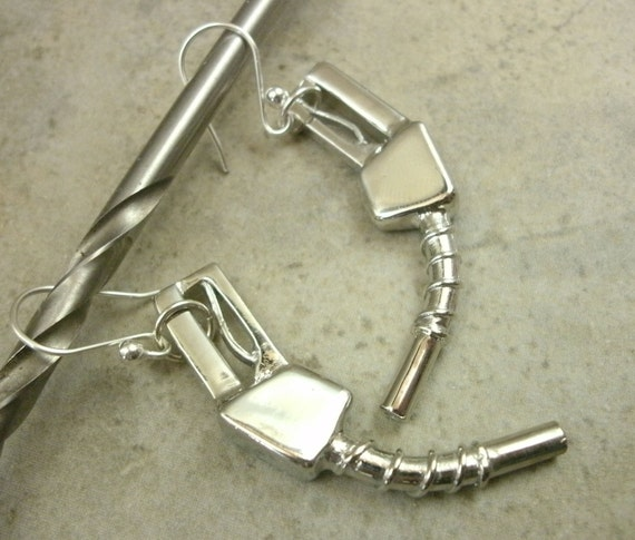 Gas Nozzle Earrings in Silvertone Metal with Sterling Silver Wires - Rockabilly Jewelry - Automotive - Industrial