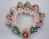 SALE Unique Seashell Wreath, Holiday  Wreath,Seashell Flower wreath, One Of a kind Wreath