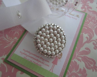 crystal pacifier clip with pearl and crystals