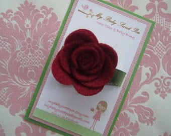 Girl hair clips - girl barrettes - girl flower hair clips
