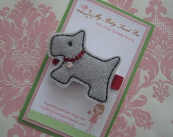 girl hair clips - barrettes for girls - scotty dog hair clip - no slip hair clip