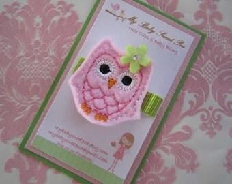 Girl hair clips - girl barrettes - spring owl hair clip - no slip hair clips