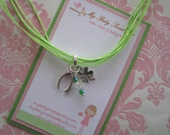 Girls necklaces - st patricks day necklace - lucky necklace
