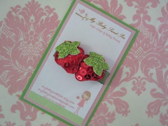 Girls hair clip - blingy strawberry hair clip - no slip hair clip