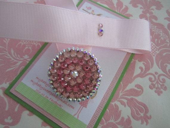 pink swarovski pacifier clip - baby pacifier - crystal pacifier