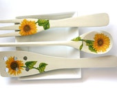 Decoupage Kitchen Decoration, yellow sunflowers, wooden spoon, fork, spatula, perfect gift, housewife, home, decorative